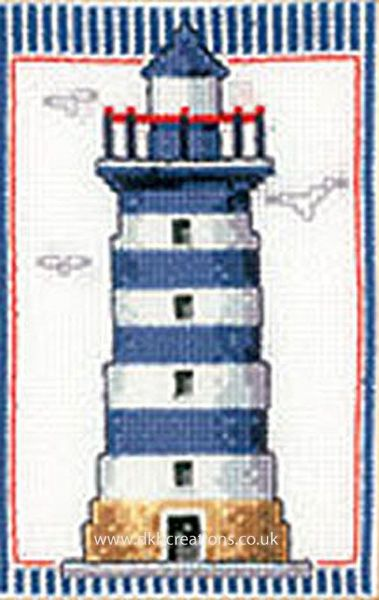 Lighthouse  Blue And  White Bands Cross Stitch Kit